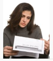 girl and debt collector letter image